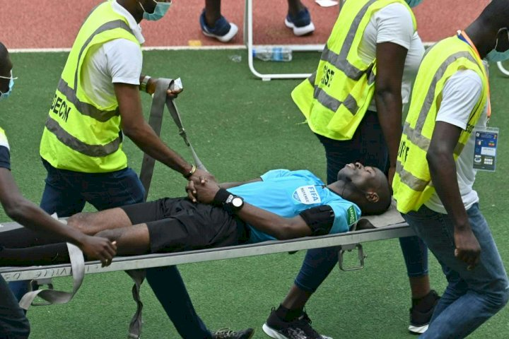 AFCON qualifier: Ghanaian referee collapses during Ivory Coast vs Ethiopia (Video)