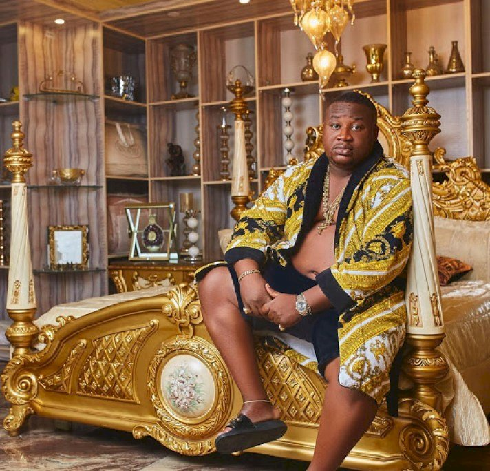 """""""The weight came with money"""" – Reactions as Cubana Chief Priest shares his before and after photo"""