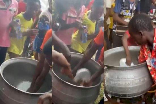 Children Seen Using Bare Hands To Scoop Hot Peppersoup From Fire At Obi Cubana's Mother's Burial [Video]