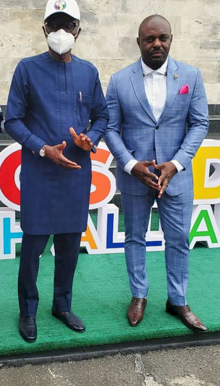"""Ahh Bad Guy!"" - Lagos governor, Sanwo-Olu reacts after bumping into Jim Iyke (Video)"
