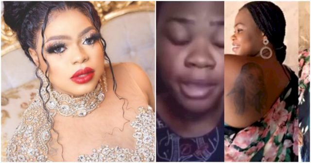 """""""I feel like killing myself"""" – Lady who tattoed Bobrisky on her body, now homeless, begs for help (Video)"""