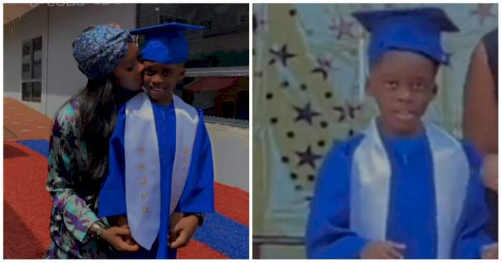 """""""Proud mummy moment"""" - Congratulations pour in for Tiwa Savage as her son, Jamil graduates from Pre-school (Photo/Video)"""
