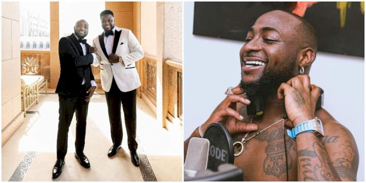 Davido's brother reacts as the singer shows off his diamond-encrusted frog pendant