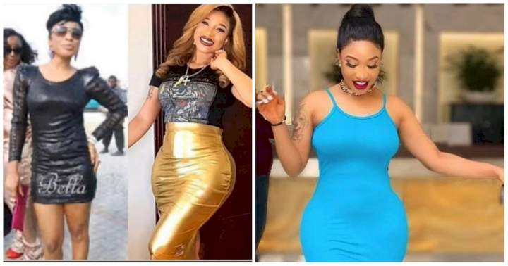 Tonto Dikeh compares her body before and after to answer why she went under the knife