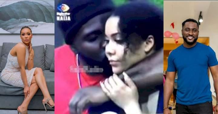 "BBNaija: ""Naso e dey start"" - Reactions as Pere hits Maria's cheek with a romantic peck (Video)"