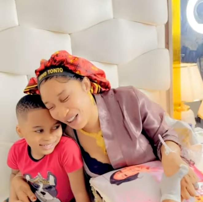 """""""I'm a lion"""" - Tonto Dikeh tells son, Andre in new video"""
