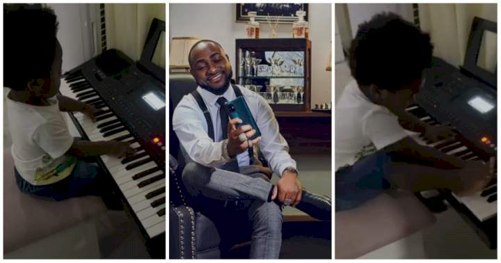 """""""My kids make me so happy"""" - Davido says, shares moment his son Ifeanyi was playing the Piano (Photo)"""