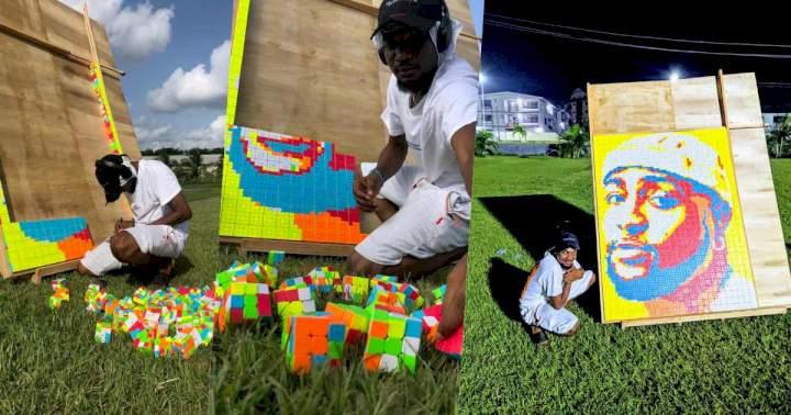 Man creates unique portrait of Davido using 800 pieces of Rubik's cubes (Video)