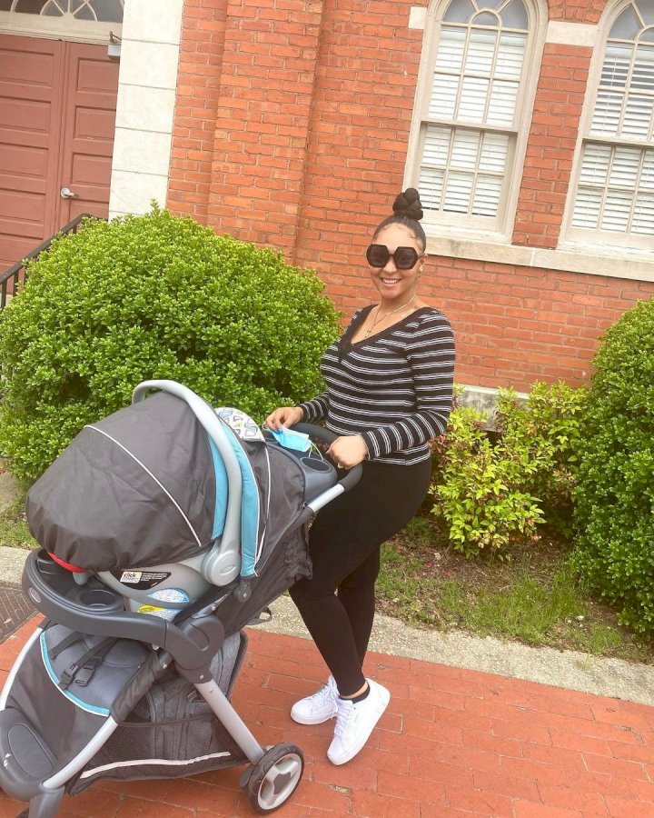 """Latest mum in town"" - Actress, Uche Ogbodo praises Rosy Meurer as she steps out with son"