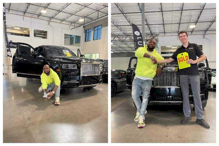 Nigerian man laments after seeing a Rolls Royce similar to that of Davido randomly parked on the roadside (Video)