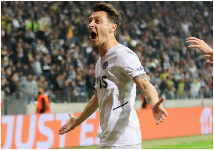 Europa League: Ex-Arsenal star, Mesut Ozil reacts after scoring first goal in three years