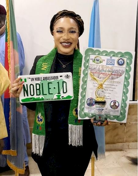Tonto Dikeh reacts after her ambassadorial award was tagged fake, shares video proof