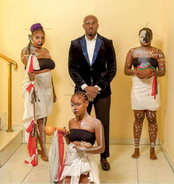 Socialite, Pretty Mike storms event with 3 ladies donned in 'spiritual' attire (Video)