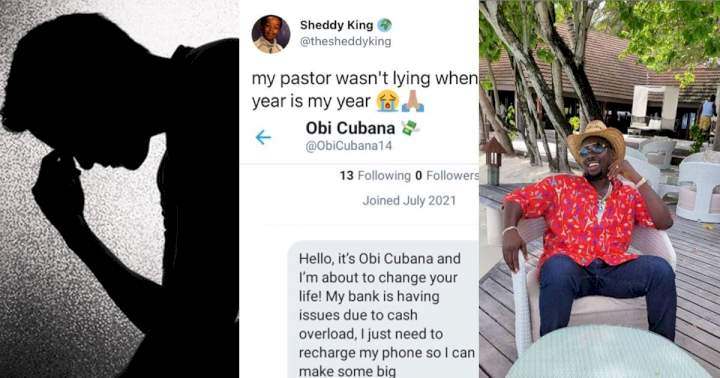 Man shares chat with individual who tried to defraud him by impersonating Obi Cubana