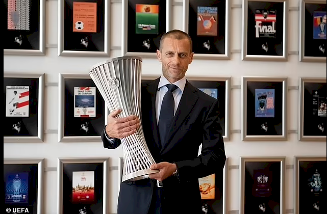 UEFA unveil the trophy for the newly-formed Europa Conference League