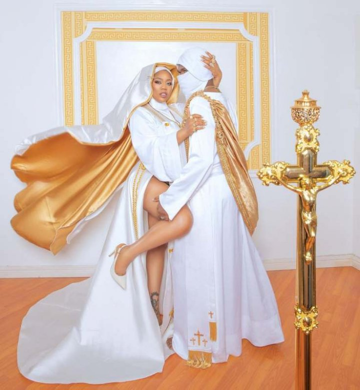 Toyin Lawani defends herself after being dragged for wearing a raunchy nun outfit