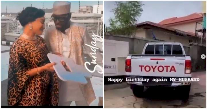 Tonto Dikeh's husband, Prince Kpokogri finally takes delivery of the birthday truck she gave to him (Video)