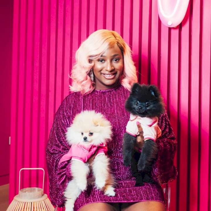 DJ Cuppy takes her dogs Dudu and Fun Fun on a special visit to Grandpa Femi Otedola (Video)