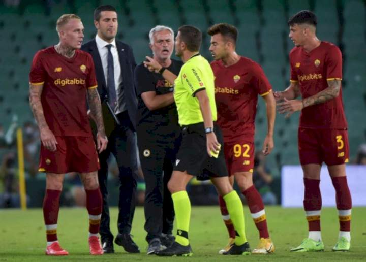 Serie A: Mourinho sent off as Roma receive three red cards, lose 5-2