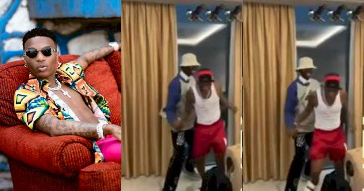 """""""He don high"""" - Fans react as Wizkid staggers after shaking Blaqbonez in Ghana (Video)"""