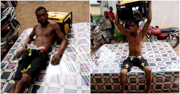 Young man caught for allegedly stealing a generator and a mattress in Delta state
