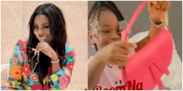 Davido's baby mama, Sophia Momodu spotted rocking the bag he gifted their daughter (Video)