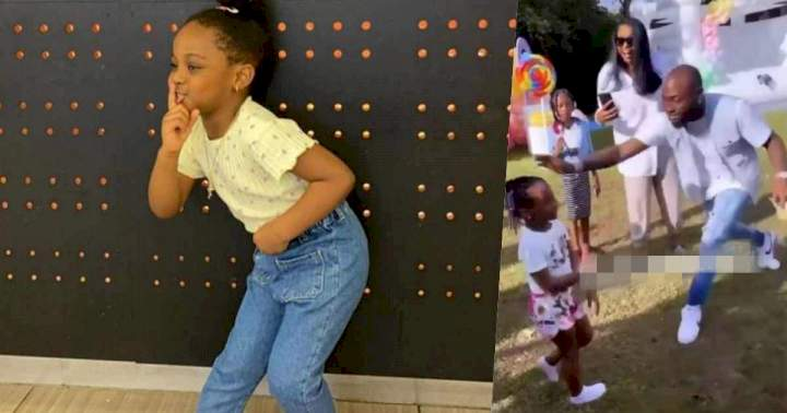 Watch Davido scold his daughter, Hailey, for trying to twerk at her birthday party (Video)