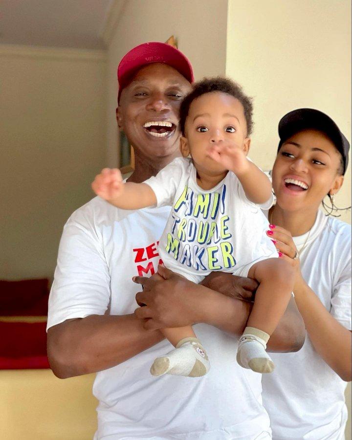 Lovely new photos of Regina Daniels, her husband, Ned Nwoko and their son, Munir