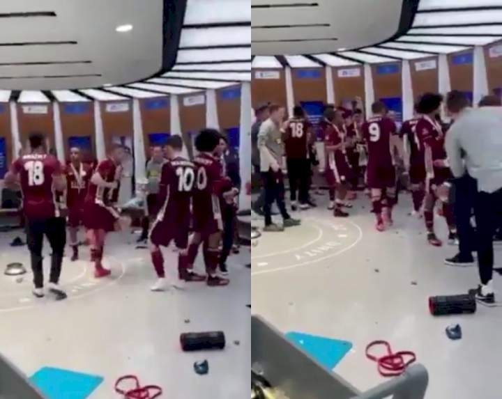 FA Cup: How Ndidi, Iheanacho celebrated with Leicester team-mates in dressing room after victory (Video)