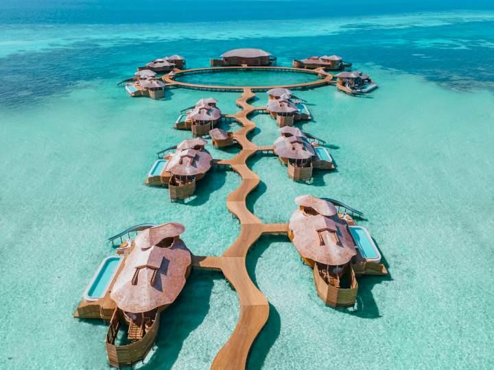 Overwater villas at the newly refreshed Soneva Jani resort, Maldives