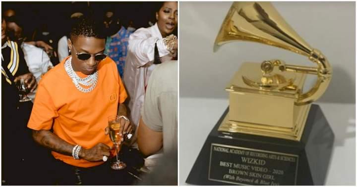 Singer, Wizkid Finally Receives His Grammy Award Plaque (Photo)