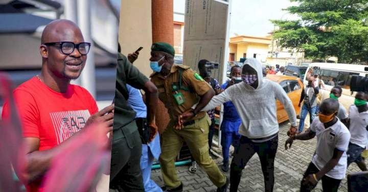 Watch as Baba Ijesha prostrates to thank his lawyers after securing a N2m bail for him (video)