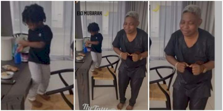 Wizkid's son, Zion, shows off his dance skills alongside his dad's manager (Video)