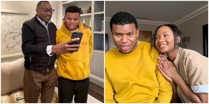 """Papa loves you so much"" - Femi Otedola celebrates son, Fewa, on his birthday"