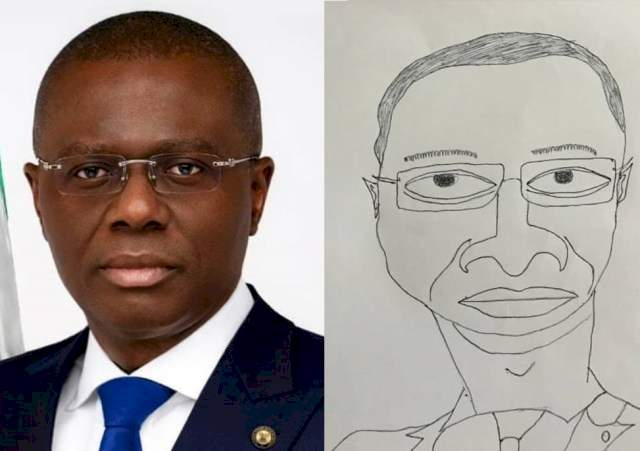 """""""Come and present it to me in my office"""" - Gov. Sanwo-Olu reacts to rare artwork of him"""
