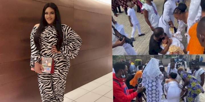 Actress, Nkechi Blessing slumps, passes out during late mother's burial (Video)