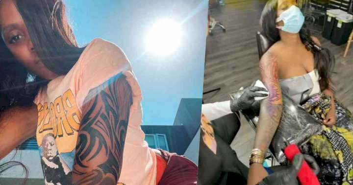 """No. 1 African bad girl"" - Reactions as Tiwa Savage gets full sleeve tattoo (Video)"