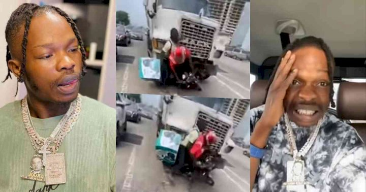 Dispatch rider almost crushed by truck while collecting money from Naira Marley (Video)