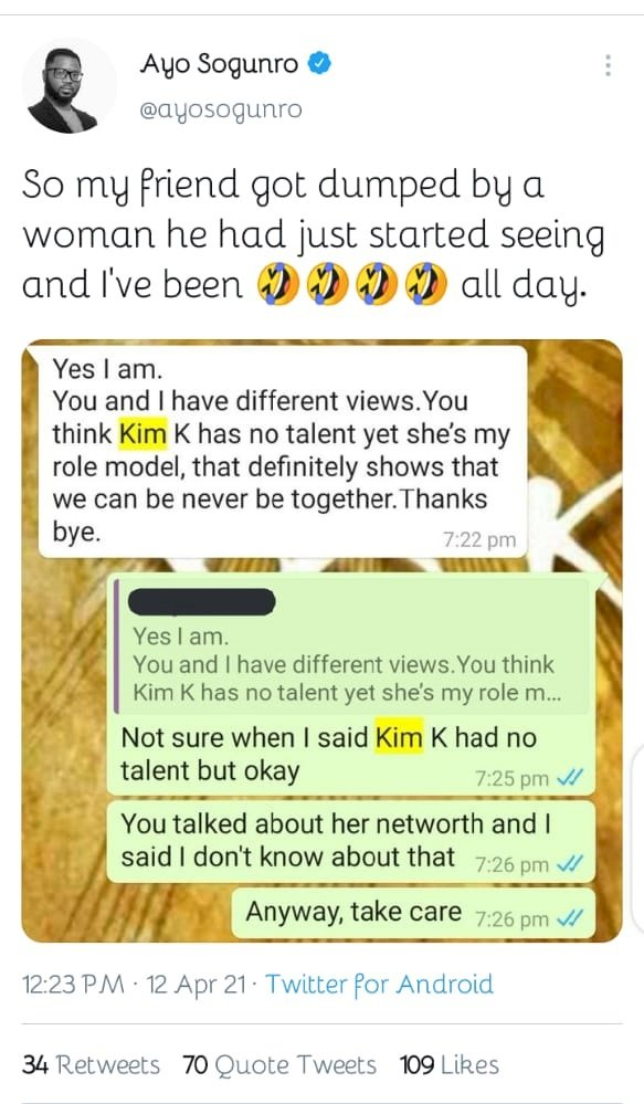 Man got dumped by his bae for saying her role model, Kim Kardashian has no talent