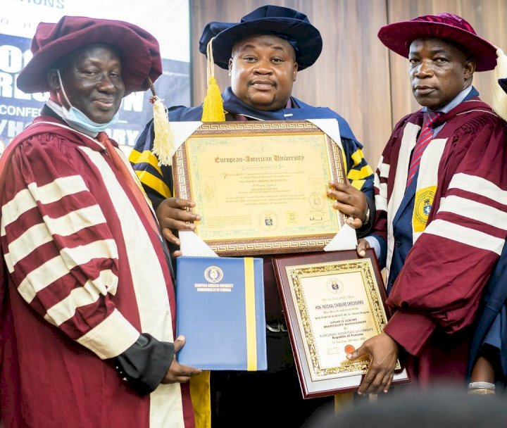 """""""Na mumu dey do thesis for 4 years"""" - Reactions as Cubana Chief Priest bags doctorate degree"""