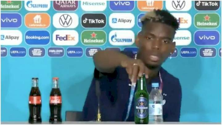 Euro 2020: Pogba removes bottle of Heineken during press conference