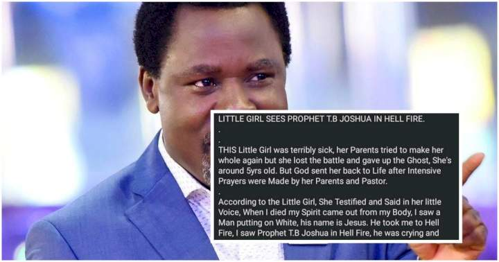 """""""I saw prophet TB Joshua in hellfire, begging God for a second chance"""" - Girl who allegedly died and came back to life reveals"""