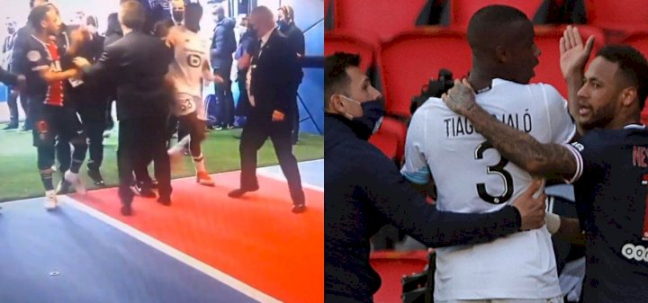 Neymar clashes with Djalo in tunnel after red card in PSG's 1-0 defeat to Lille