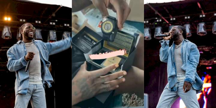 Burna Boy shows off excitement as he receives Grammy wristwatch (Video)