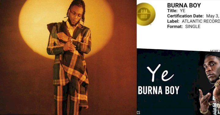"""Still Striving"" - Burna Boy says as 'Ye' gets certified Gold in the United States"